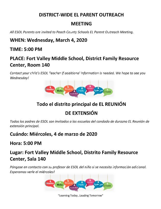 District ESOL Meeting
